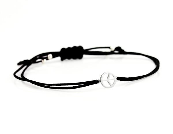 Peace Symbol Textilarmband - Silber