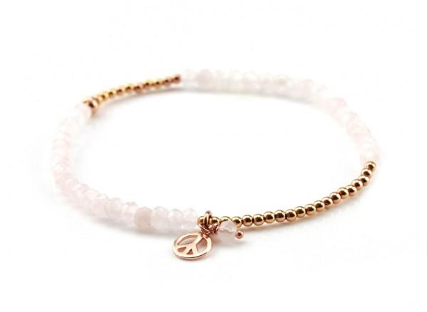 Armband Rosequarz Rosegold, 925 Silber