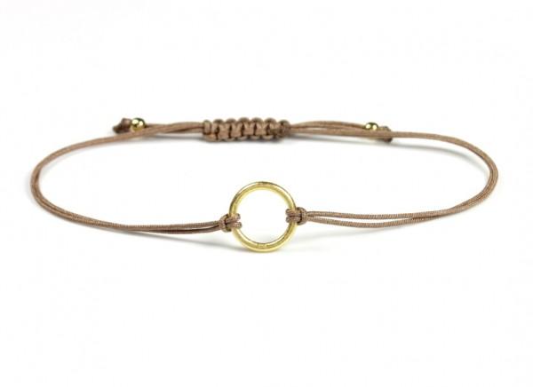 Textil Ring Armband Taupe-Gold, 925 Silber vergoldet
