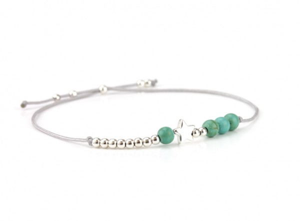 Textil Armband Türkis-Silber, 925 Silber