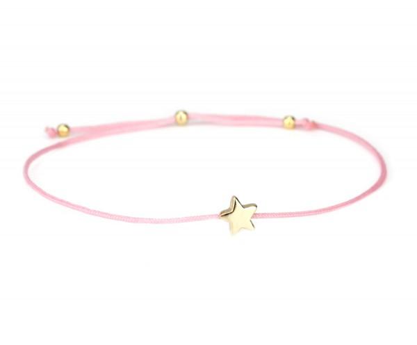 Damen Armband Stern 925 Silber Rosa-Gold dünn verstellbar | Freundschaftsarmband Sternchen Schmuck