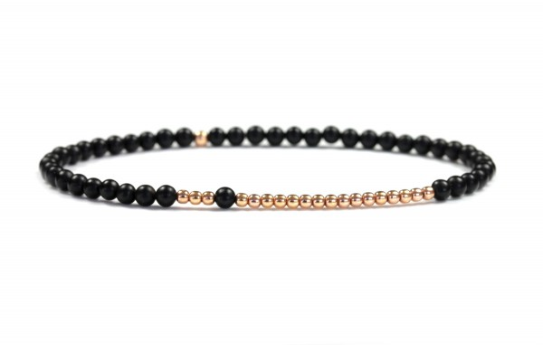 Armband Onyx-Rosegold, 925 Silber rosevergoldet