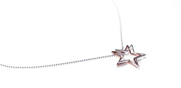 Anhänger-Set Sterne Silber-Rosegold