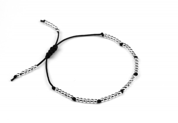 Textil Armband Schwarz-Silber