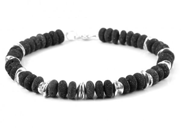 Schwarz-Silber Lava Halskette
