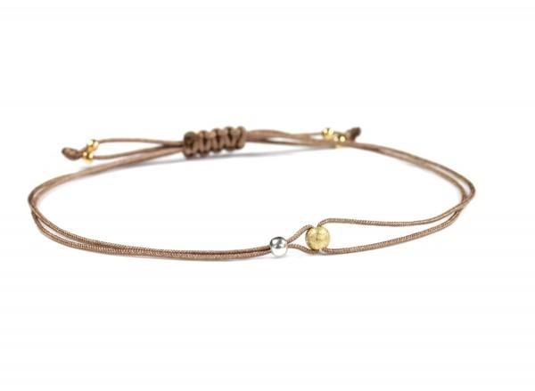 Kügelchen Textilarmband Perle,Taupe-Silber-Gold | Freundschaftsarmband dünn