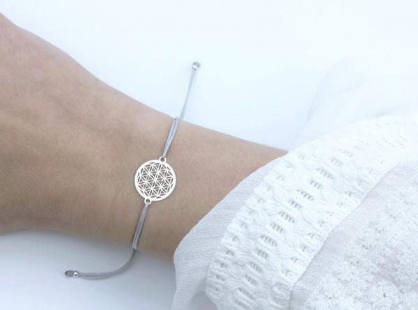 Blume des Lebens Armband, Silber-Grau 925 Silber, Lebensblume Schmuck