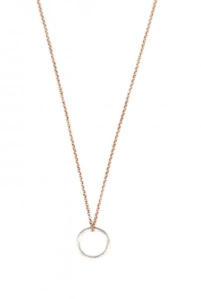 Ring Kette, Silber-Rosegold
