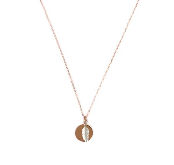 Plättchenkette mit Feder Symbol, Silber-Rosegold