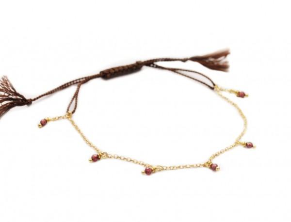 Armband Granat-Gold, 925 Silber vergoldet