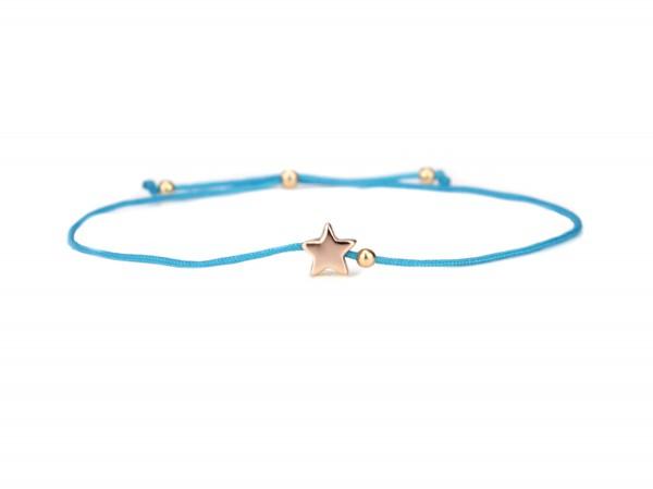Damen Armband Stern 925 Silber Türkis-Rosegold dünn verstellbar | Freundschaftsarmband Sternchen