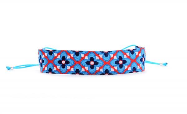Verspieltes Textil Armband, Blau-Orange