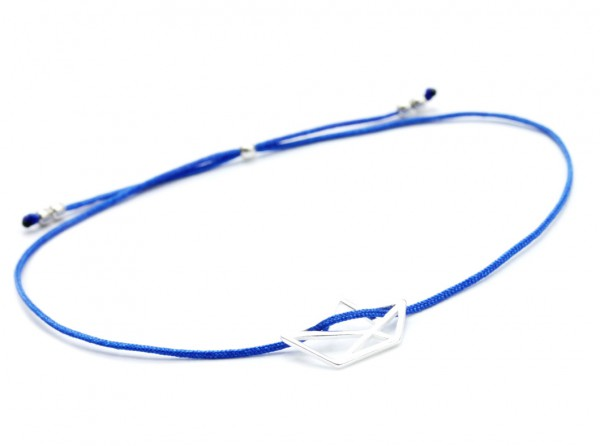 Freundschaftsarmband Papierboot Symbol in Silber-Blau 925 Silber | Armband Papierschiff Segelschiff