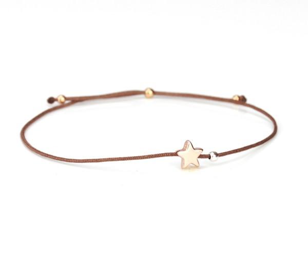 Armband Stern 925 Silber in Taupe-Rosegold dünn verstellbar | Armbändchen Sternchen Textil Schmuck