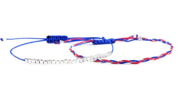 Textil Armbänder Set in Silber-Blau-Dunkelrosa