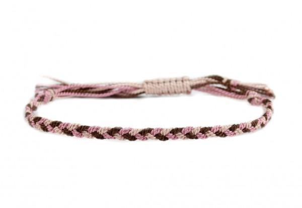 Handgeflochtenes Textilarmband, Braun-Rosa