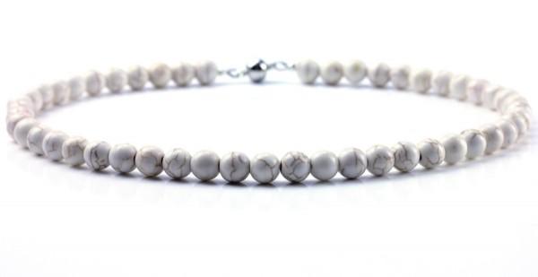 Halskette aus rek.Türkis in Weiß