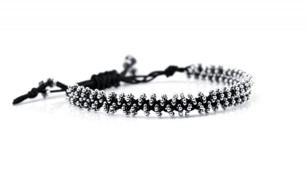Textilarmband Schwarz-Silber, 925 Silber
