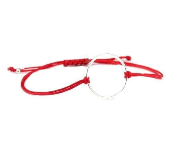 Textil Ring Armband Silber-Rot