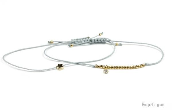 Symbol Armband Set Stern/Zirkonia Gold-Grau 925 Silber vergoldet