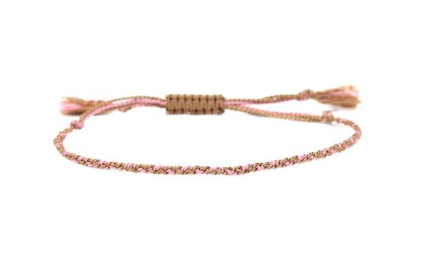 Handgeflochtenes Seide-Armband Rosa-Hellbraun