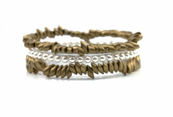 Weiß Bronze_Armbänder Set