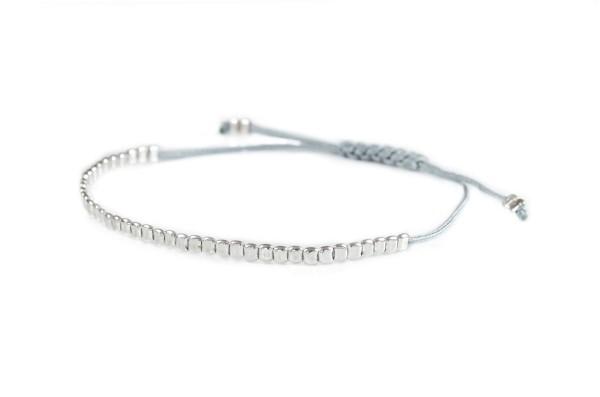 Textilarmband mit 925 Silber Elementen,Silber/Grau