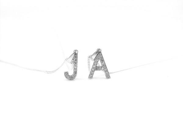Ketten-Set mit Buchstaben Anhänger, 925 Silber