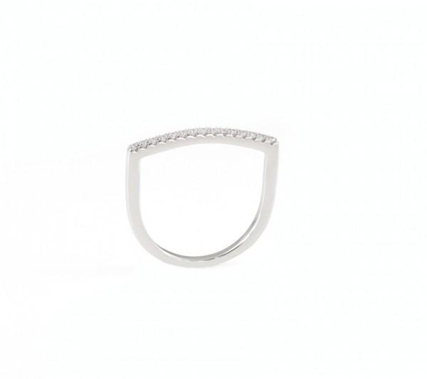 Stabförmiger Zirkonia Ring, 925 Silber