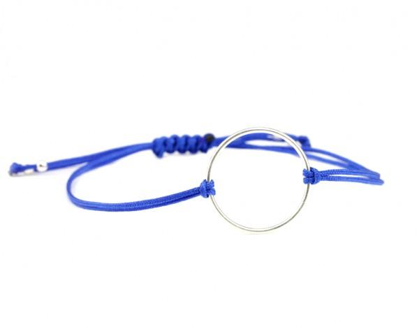 Textil Ring Armband Silber-Blau