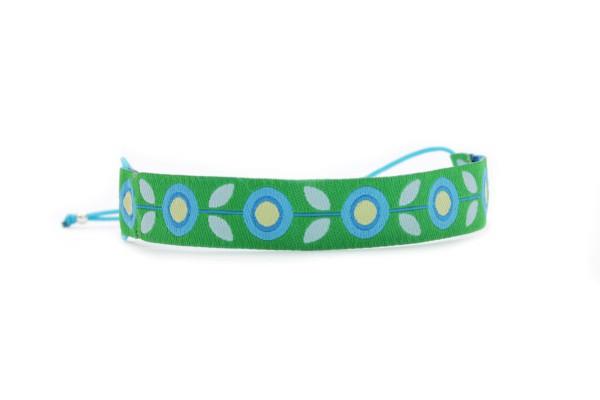 Verspieltes Stoffarmband Blau-Grün | Textilarmband