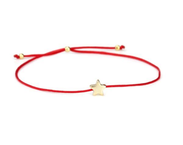 Damen Armband Stern 925 Silber in Rot-Gold dünn verstellbar | Armbändchen Sternchen Stoff Schmuck