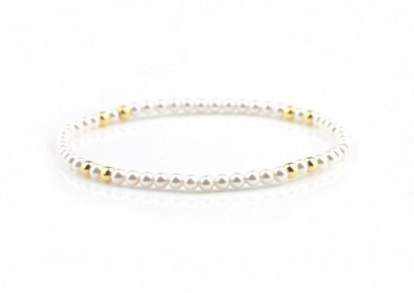 Perlen Armband Weiß-Gold