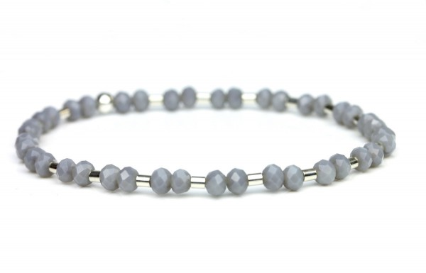 Glasperlenarmband in Silber/ Grau