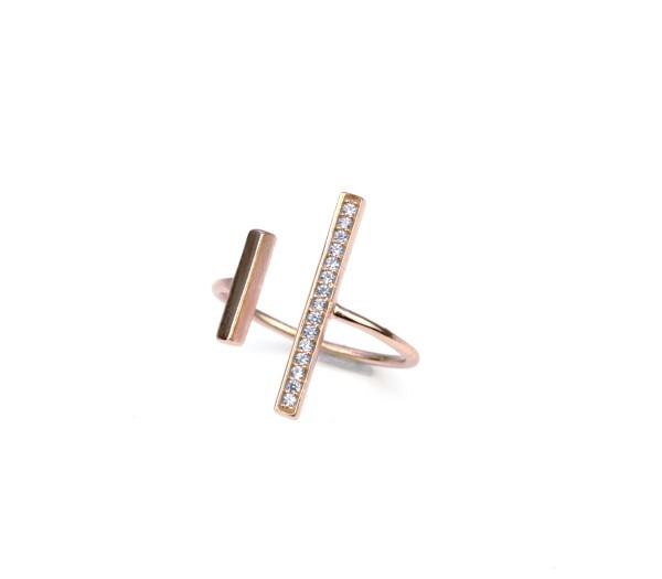 Offener Ring 925er Silber Rose-Vergoldet