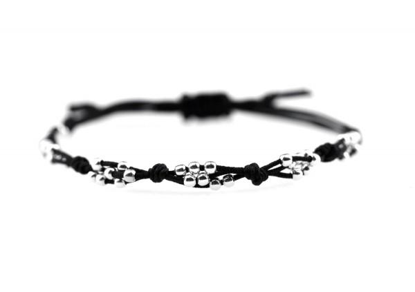 Textil-Armband Schwarz-Silber