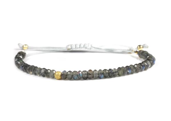 Labradorit Armband, Grau-Gold