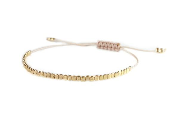 Textilarmband mit 925 Silber-Elementen Gold-Nude | Armband Individualisierbar