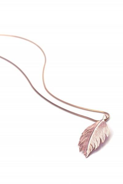 Halskette Blatt Anhänger - Rosevergoldet