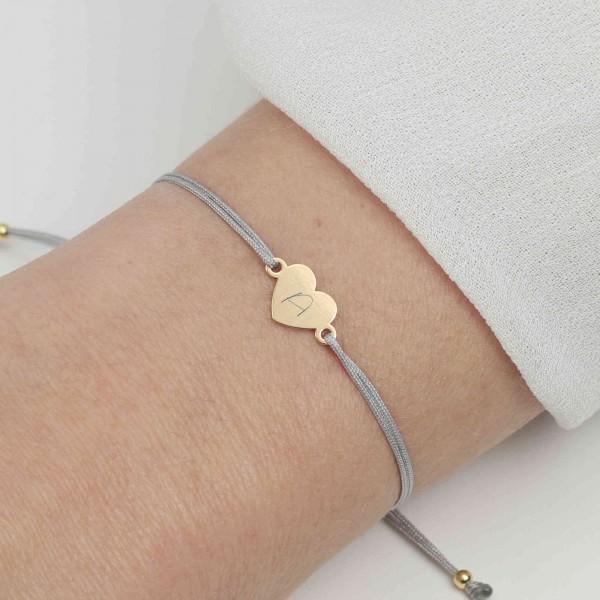 Armband Herz 925 Silber vergoldet Hellgrau mit individueller Gravur | Schmuck personalisierbar