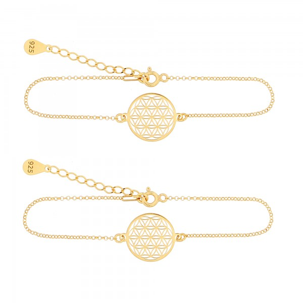 Mutter Tochter Lebensblume Armketten Set 925 Silber vergoldet | Schmuck Blume des Lebens Armbänder
