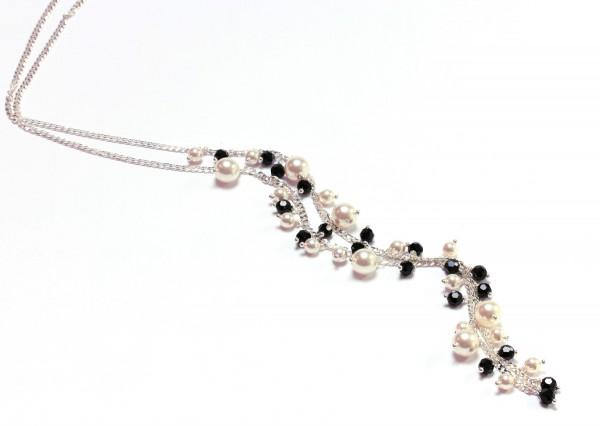 Perlenhalskette Schwarz-Weiß925 Silber