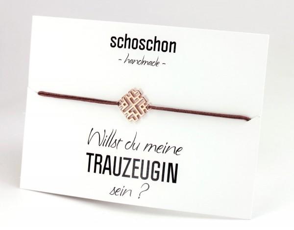 Armband Diamant Symbol Rosegold-Braun 925 Silber rosevergoldet |Schmuck Trauzeugin