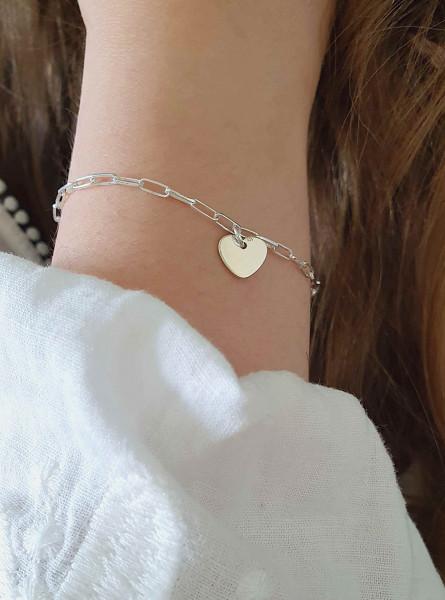Gliederarmband Herz Anhänger aus 925 Silber