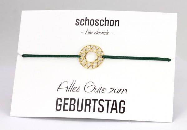 Armband Stern-Kreis Ornament 925 Silber vergoldet Dunkelgrün-Gold | Schmuck geometrische Formen