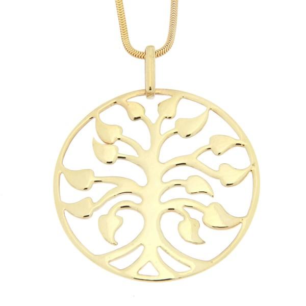 Halskette mit Baum Anhäger 925 Silber vergoldet
