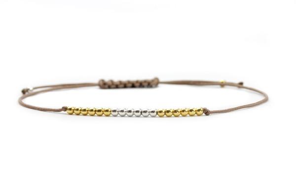 Perlen Armband Silber-Gold, 925 Silber