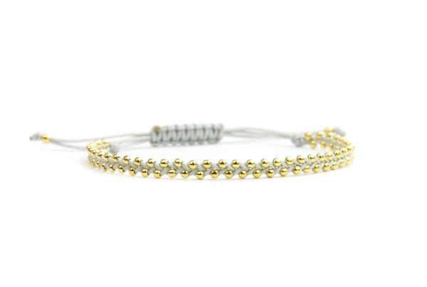 Geflochtenes Textil-Armband Gold-Hellgrau 925 Silber