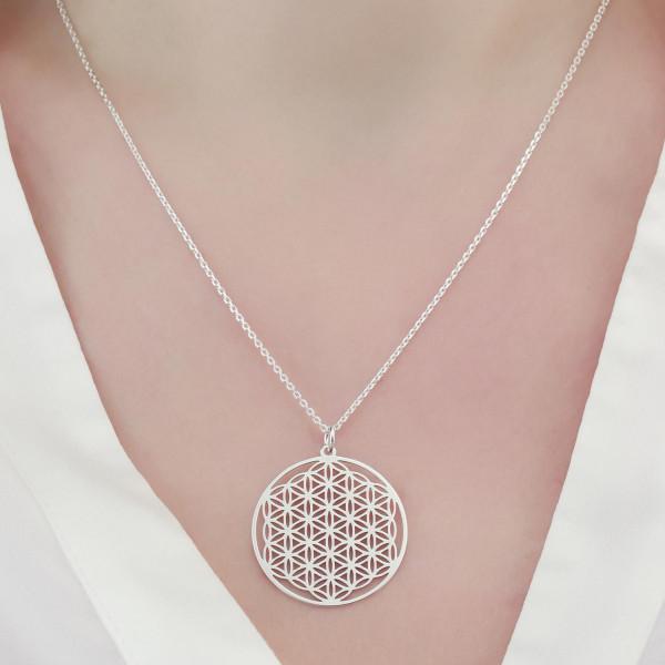 Halskette Lebensblume Anhänger 925 Silber ø 25 mm | Blume des Lebens Silberkette Kette Schmuck