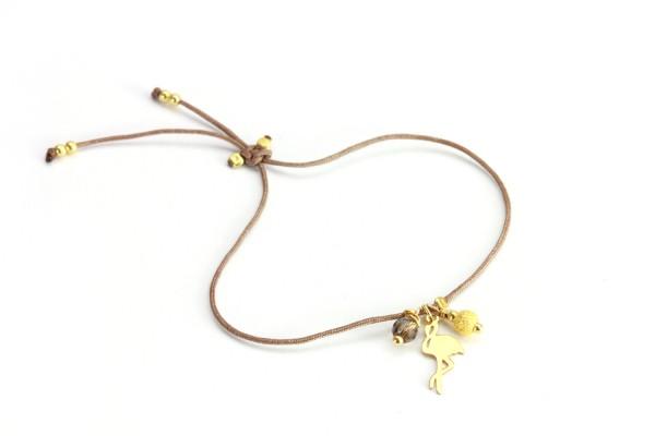 Armband Flamingo Rauchquarz 925 Silber vergoldet -Taupe | Freundschaftsarmband Symbol Schmuck
